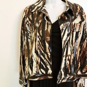 Animal Print Long Sleeve Jacket with Clear Beads L